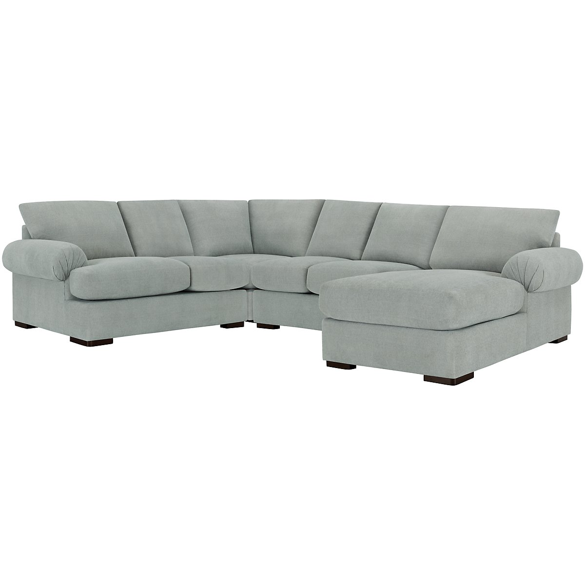 Belair Light Blue Fabric Medium Right Chaise Sectional