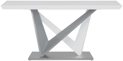 Lennox White Rectangular Table U0026 4 Upholstered Chairs