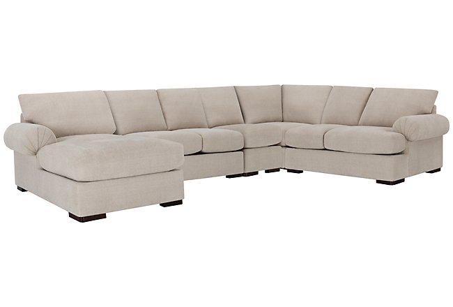 Belair Light Taupe Fabric Large Left Chaise Sectional