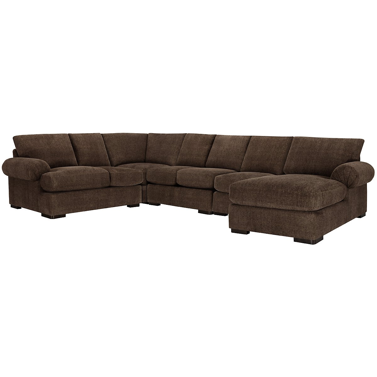 City furniture belair dk brown microfiber large right for Brown microfiber sectional with chaise