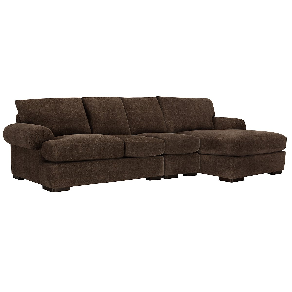 Belair Dark Brown Fabric Small Right Chaise Sectional