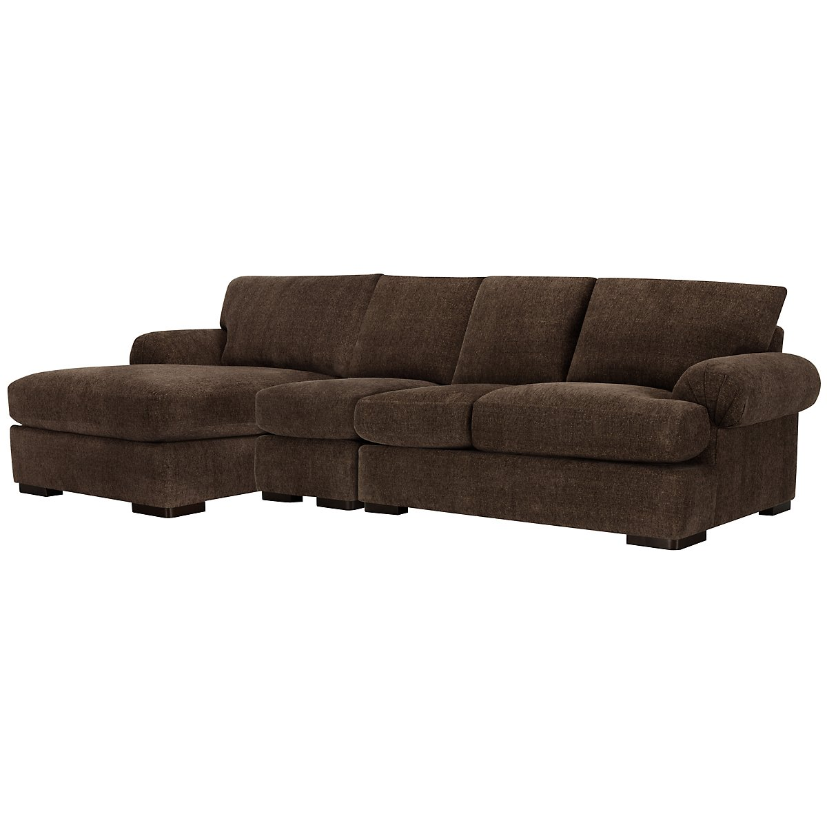 City furniture belair dk brown microfiber small left for Brown sectional with chaise
