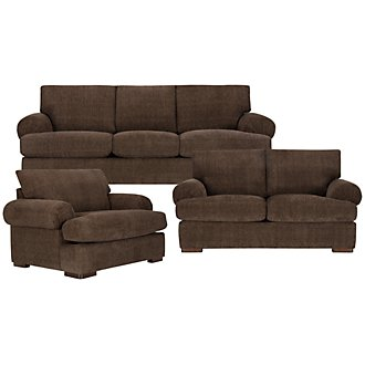 Belair Dark Brown Fabric Living Room