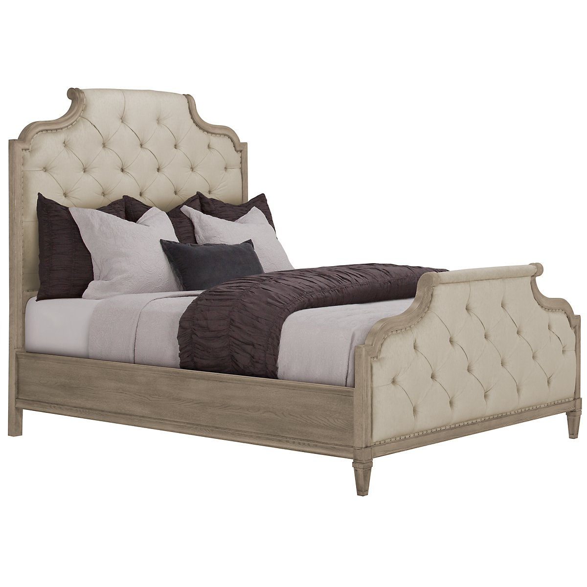 Marquesa Gray Upholstered Panel Bed