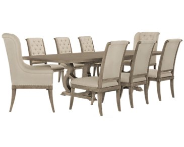 Marquesa Gray Table & 4 Upholstered Chairs