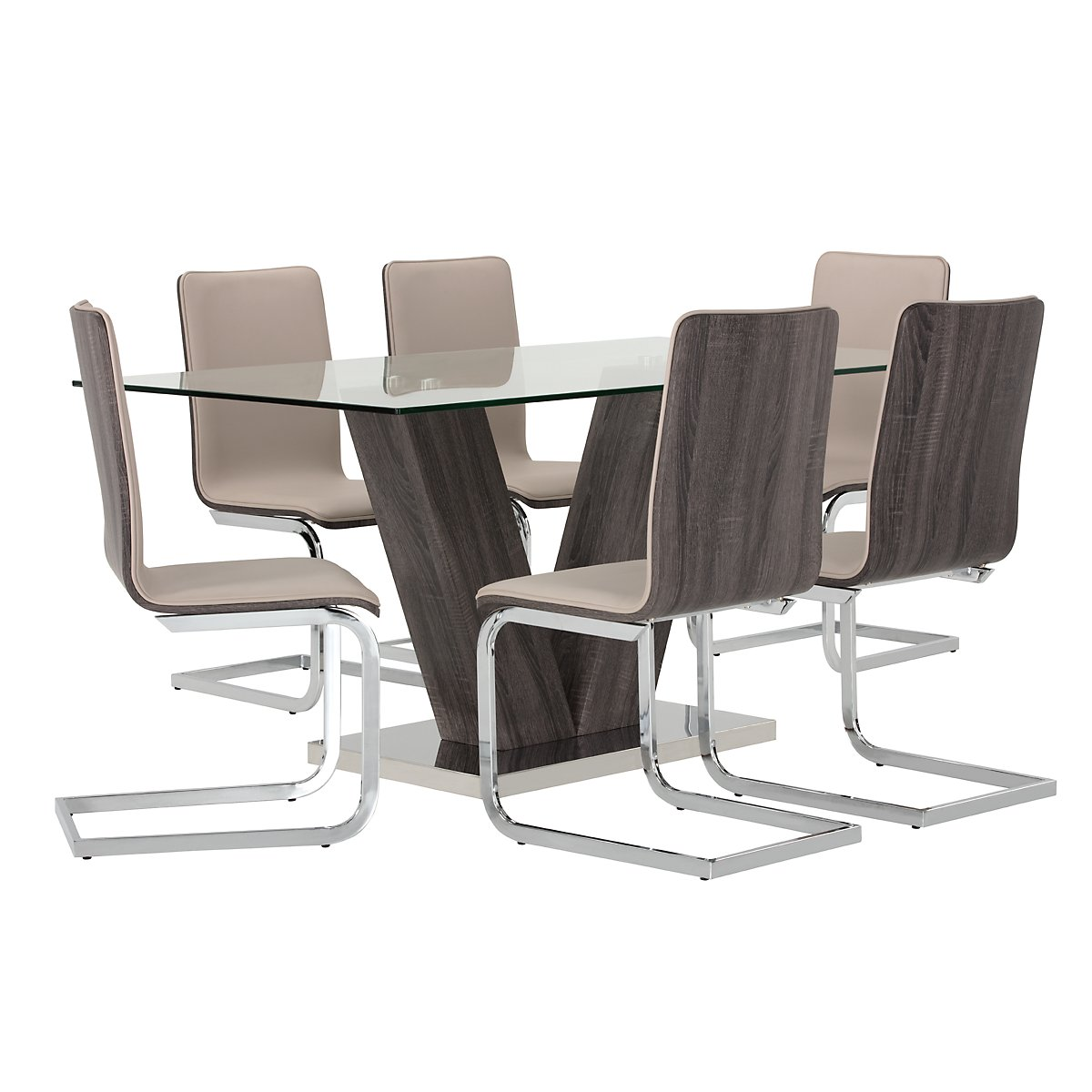 Kendall Dark Tone Glass Table & 4 Upholstered Chairs