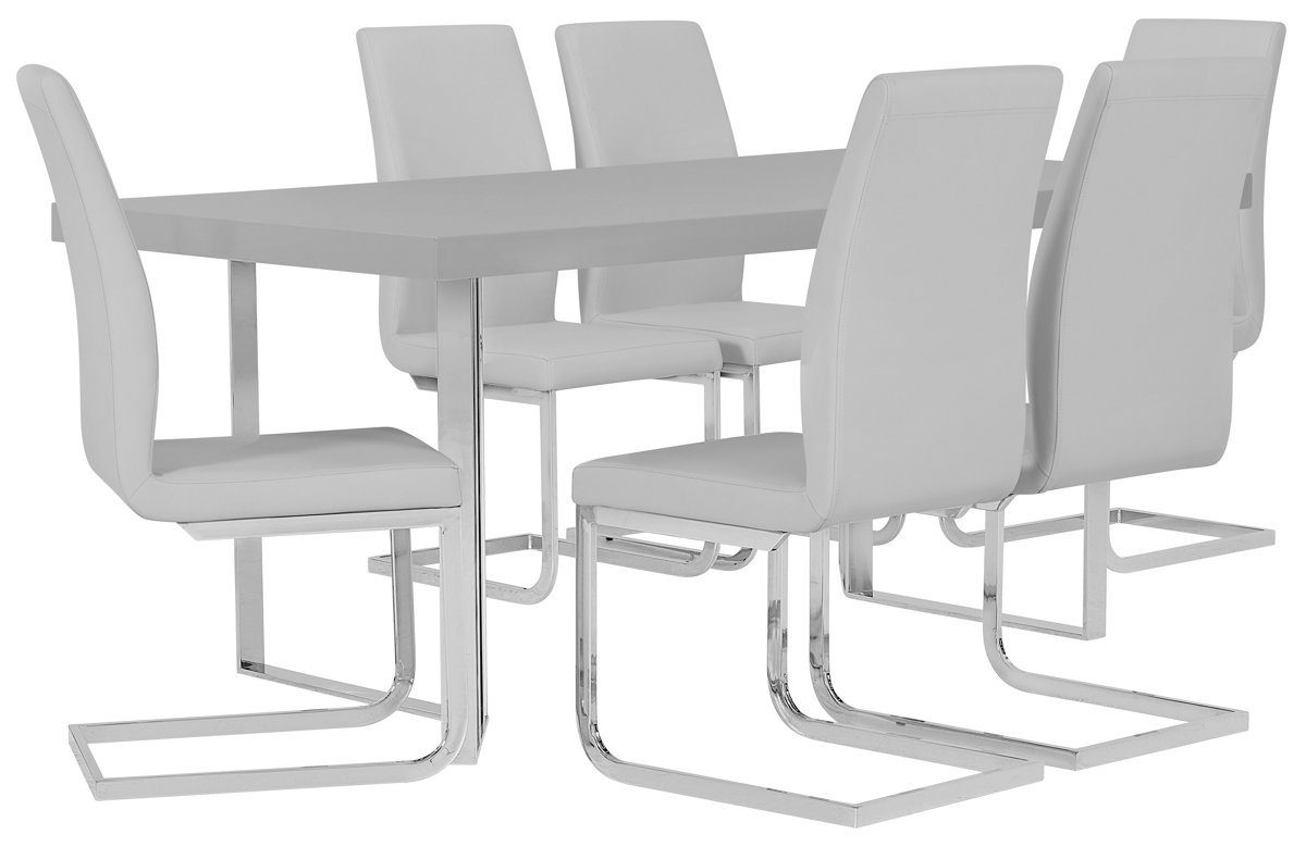 Axel Gray Wood Table & 4 Upholstered Chairs