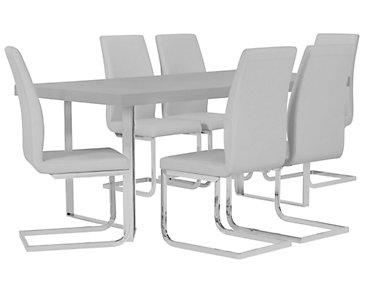 Axel Gray Table & 4 Upholstered Chairs