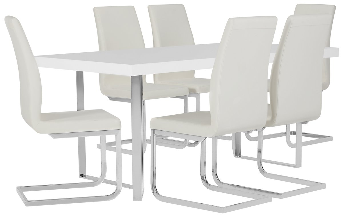 Axel White Wood Table & 4 Upholstered Chairs