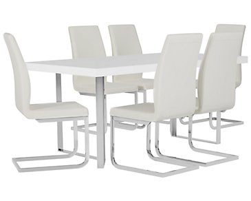 Axel White Table & 4 Upholstered Chairs