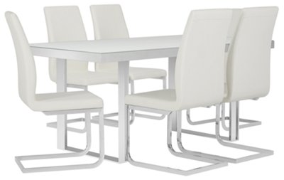 Harley White Glass Table U0026 4 Upholstered Chairs