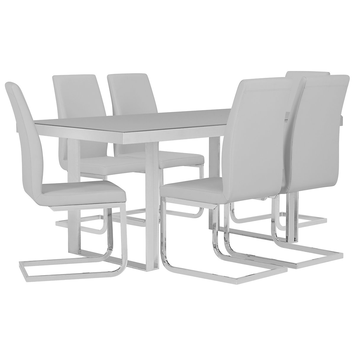 Harley Gray Glass Table & 4 Upholstered Chairs