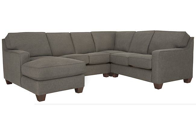 York Dark Gray Fabric Medium Left Chaise Sectional