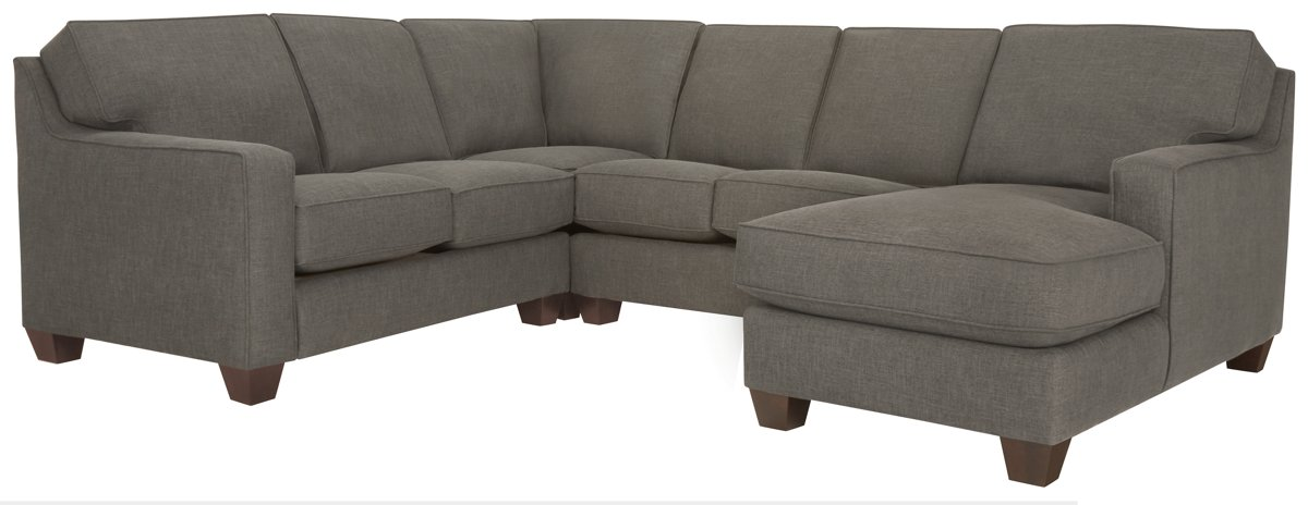 York Dark Gray Fabric Medium Right Chaise Sectional