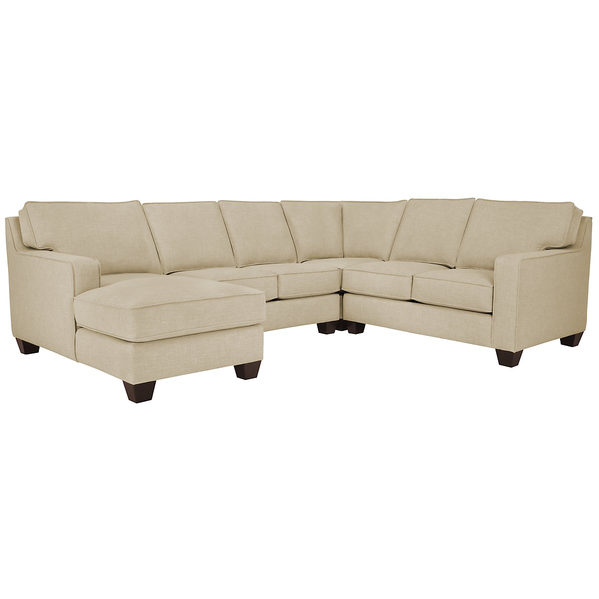 City furniture york beige fabric medium left chaise sectional for Beige sectional with chaise