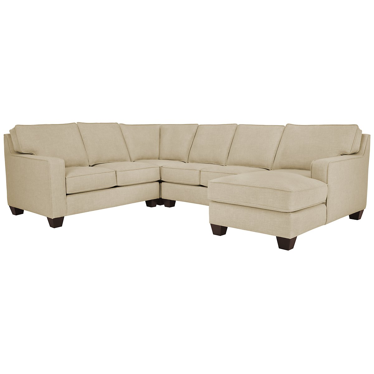 York Beige Fabric Medium Right Chaise Sectional