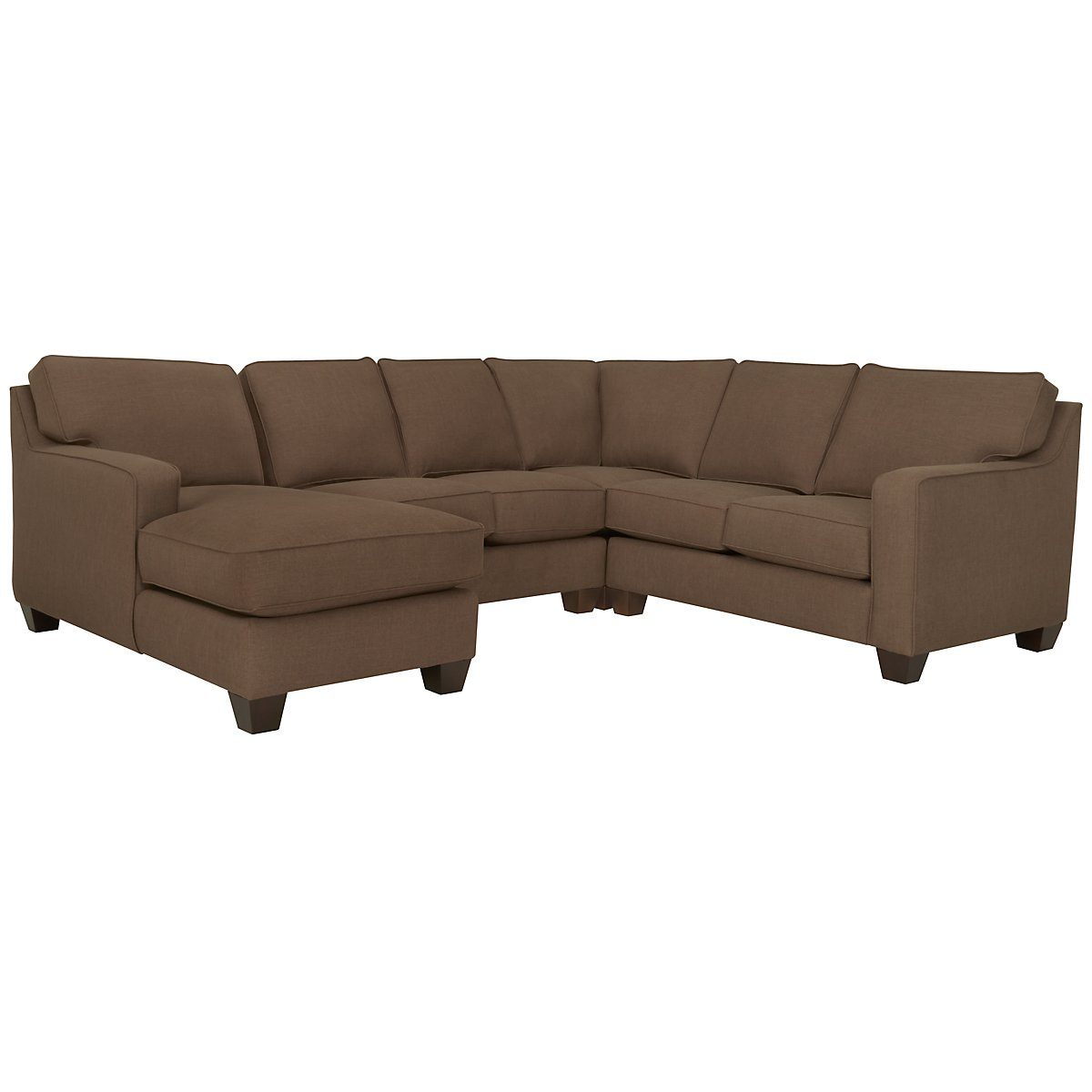 York Dark Brown Fabric Medium Left Chaise Sectional