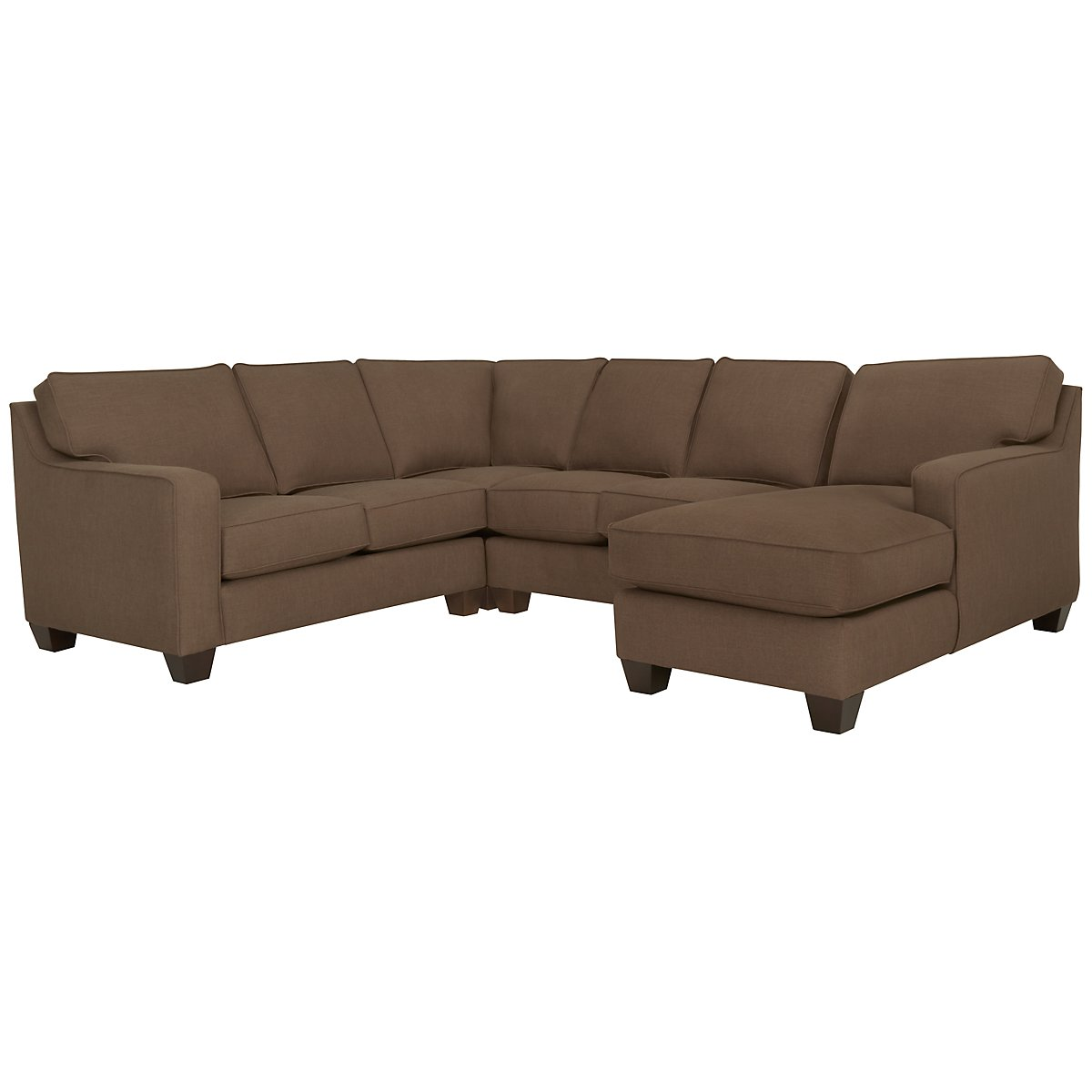York Dark Brown Fabric Medium Right Chaise Sectional