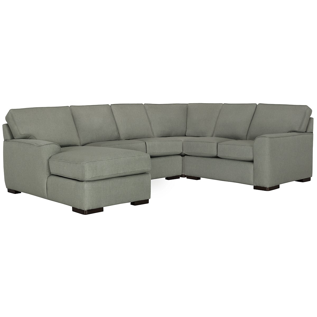 Austin Green Fabric Medium Left Chaise Sectional