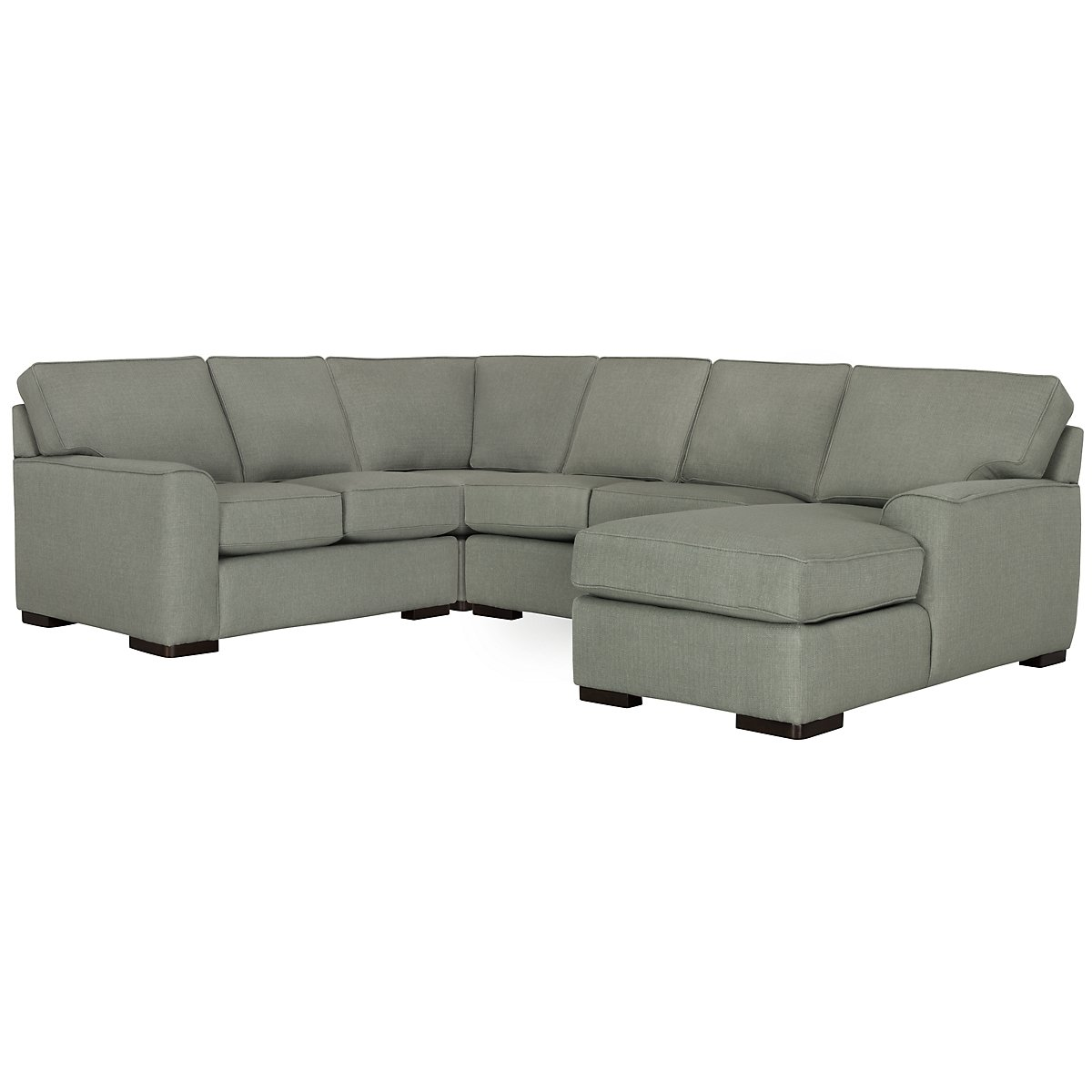 Austin Green Fabric Medium Right Chaise Sectional