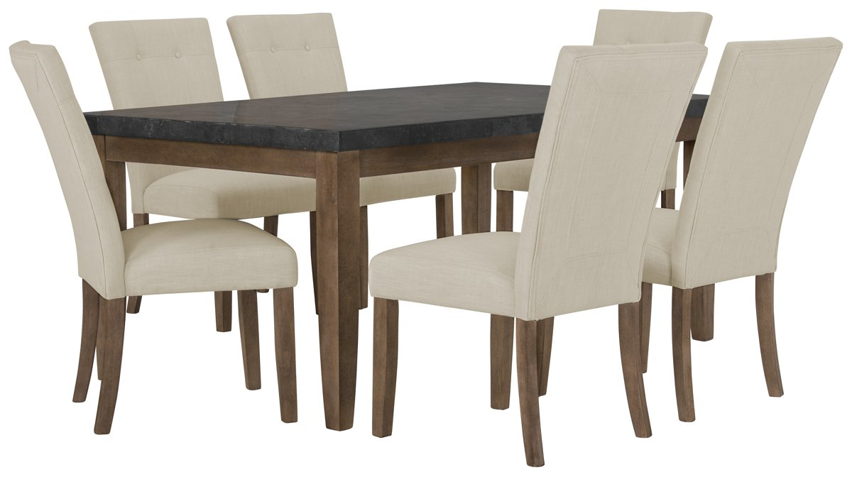 Emmett White Rect Table & 4 Upholstered Chairs