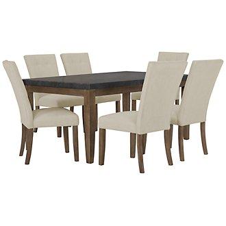Emmett White Rectangular Table & 4 Upholstered Chairs