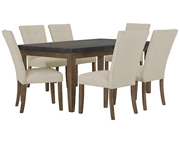 Emmett White Rectangular Table & 4 Upholstered Chairs