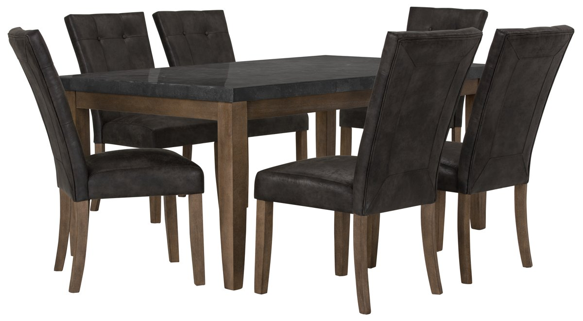 Emmett Gray Rect Table & 4 Upholstered Chairs