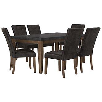 Emmett Gray Rectangular Table & 4 Upholstered Chairs