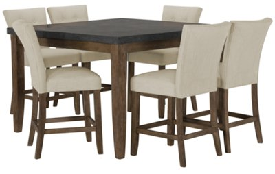 Emmett White Square High Table & 4 Upholstered Barstools