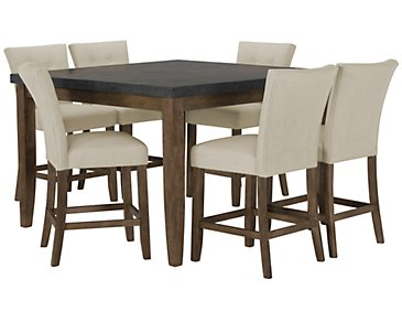 Emmett White Square High Table & 4 Upholstered Barstools
