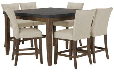 Emmett White Square High Table U0026 4 Upholstered Barstools