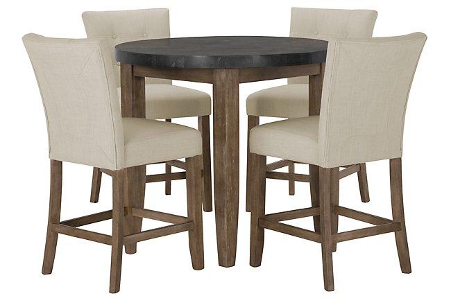 Emmett White Round High Dining Table & 2 Upholstered Barstools