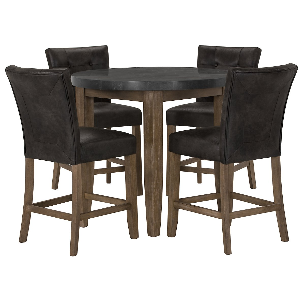 Emmett Gray Stone High Dining Table & 2 Upholstered Barstools