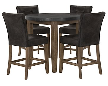 Emmett Gray Round High Dining Table & 2 Upholstered Barstools