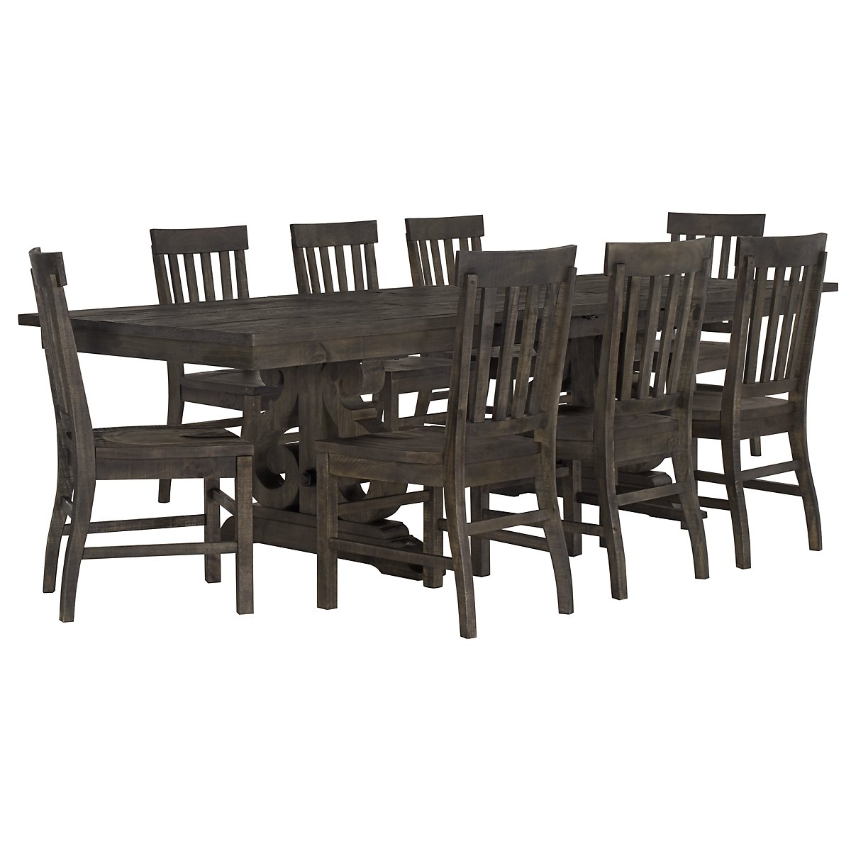 Sonoma Dark Tone Trestle Table & 4 Wood Chairs