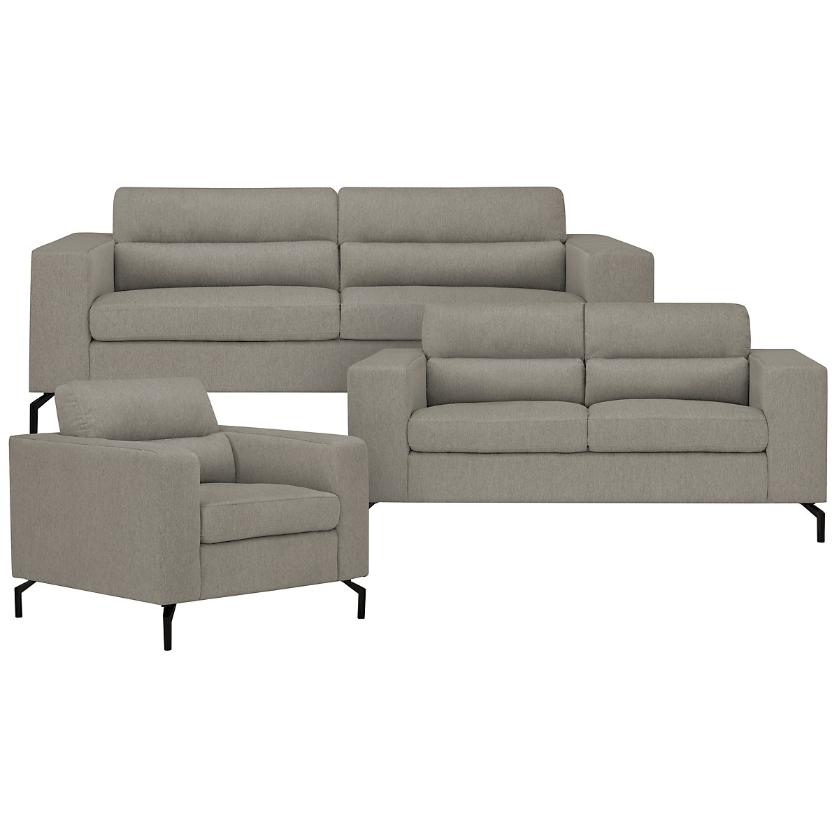 Knox Light Gray Fabric Living Room