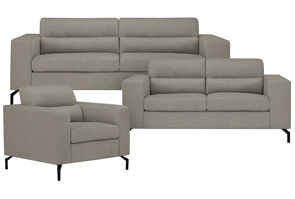 Knox Light Gray Fabric Sofa