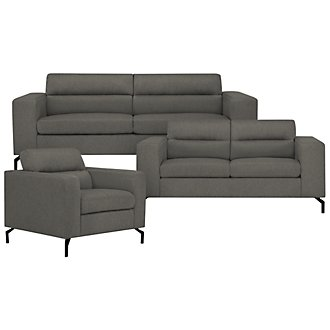 Knox Dark Gray Fabric Living Room