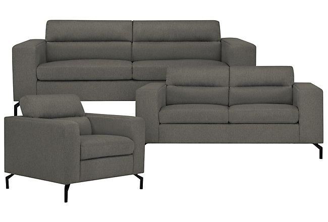 Knox Dark Gray Fabric Living Room