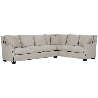 Connor Light Taupe Fabric 2-Arm Left Facing Sectional