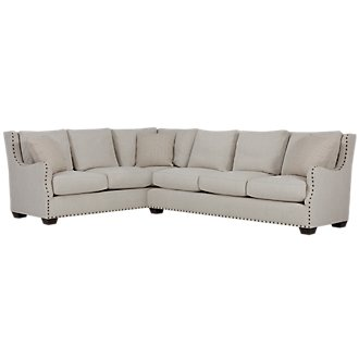 Connor Light Taupe Fabric 2-Arm Right Facing Sectional