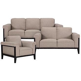 Harlan Pewter Fabric Living Room