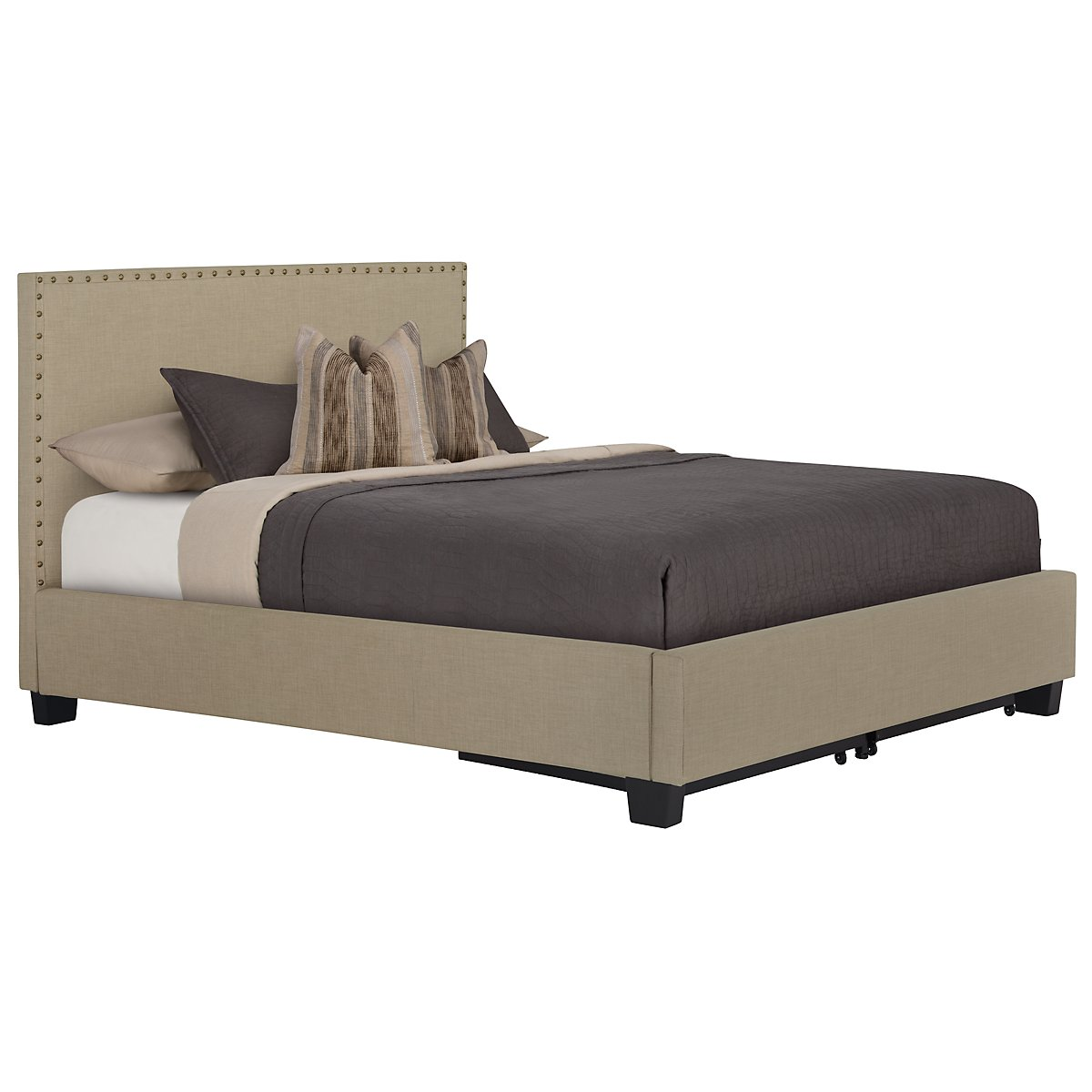 Holden Taupe Upholstered Platform Storage Bed