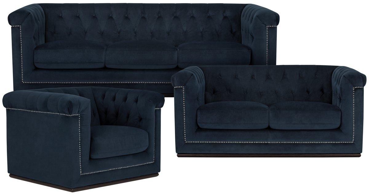 Blair Dark Blue Microfiber Living Room