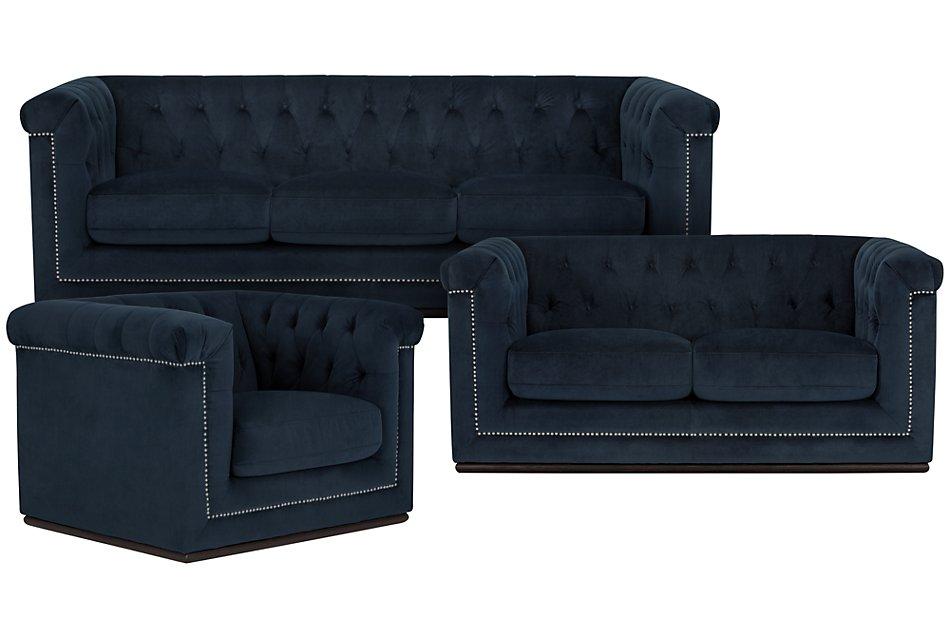 Blair Dark Blue Living Room | Living Room - Living Room Sets ...