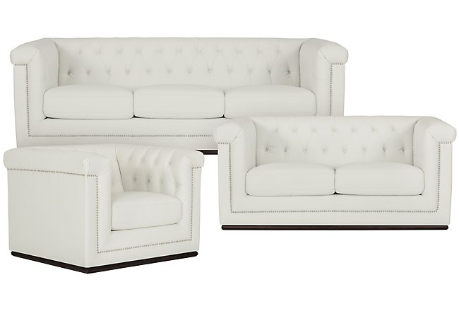 Blair White Microfiber Living Room