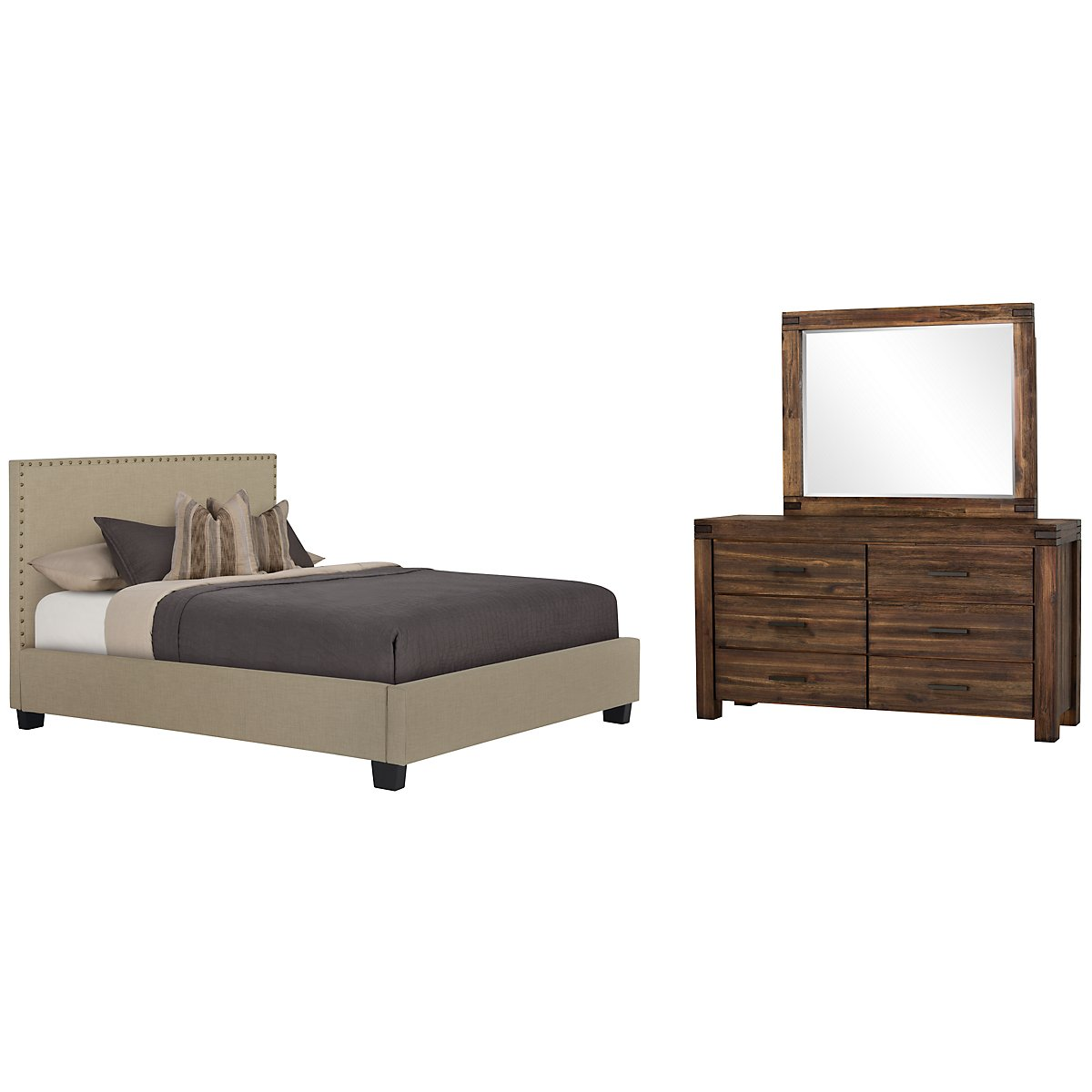 Holden Taupe Upholstered Platform Bedroom