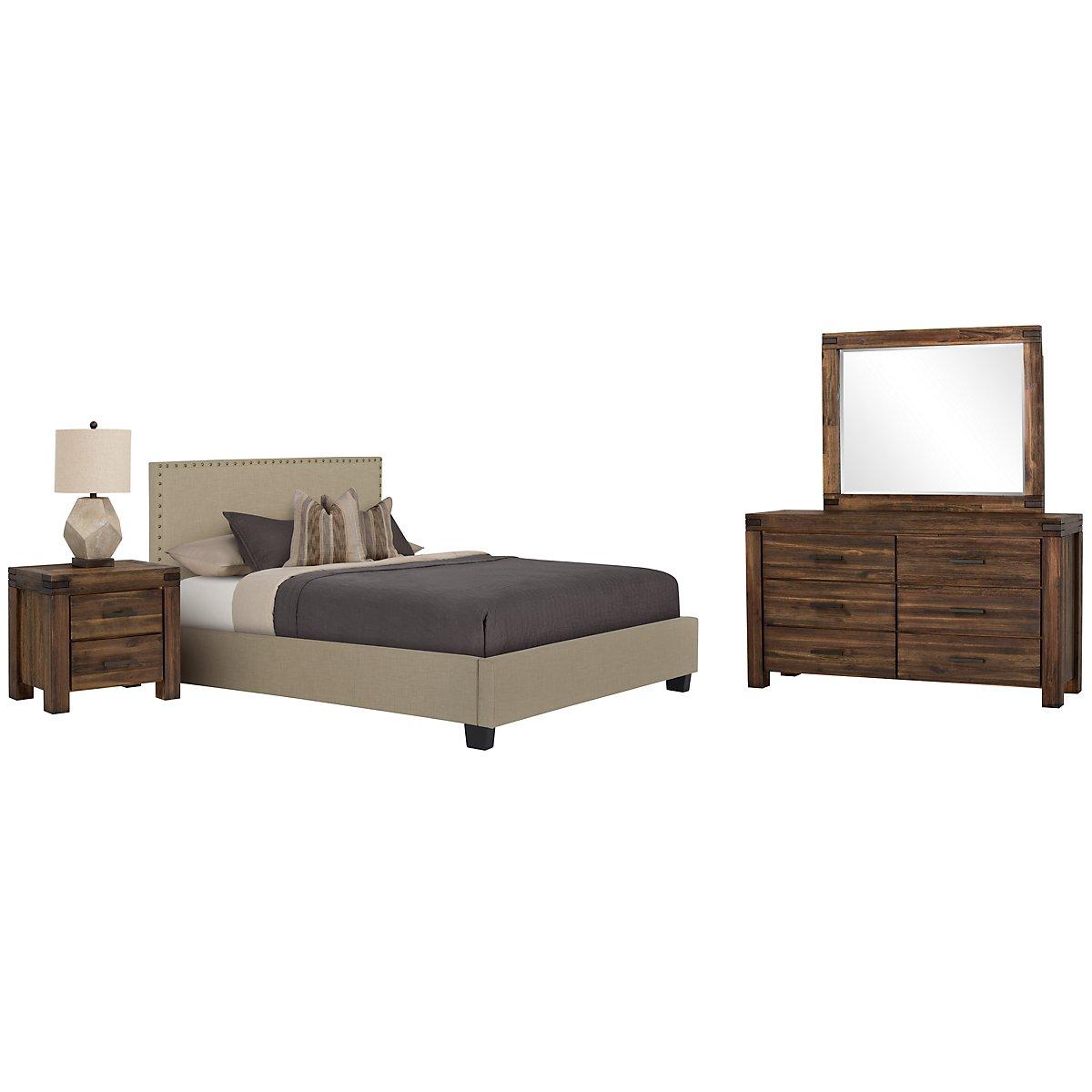Holden Taupe Upholstered Platform Bedroom
