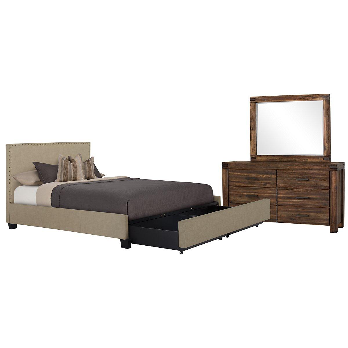 Holden Taupe Upholstered Platform Storage Bedroom